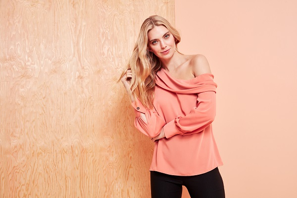 coral one shoulder blouse